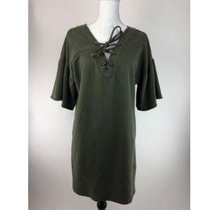 Sanctuary Shirt Dress Womens Small Green Lace Neck